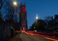 St Stephen's Church, Lansdown, Bath, photographed at dawn with light trail