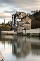 Waterfront house reflection in autumn.  Bath Photo Prints by Beata Cosgrove Photography.