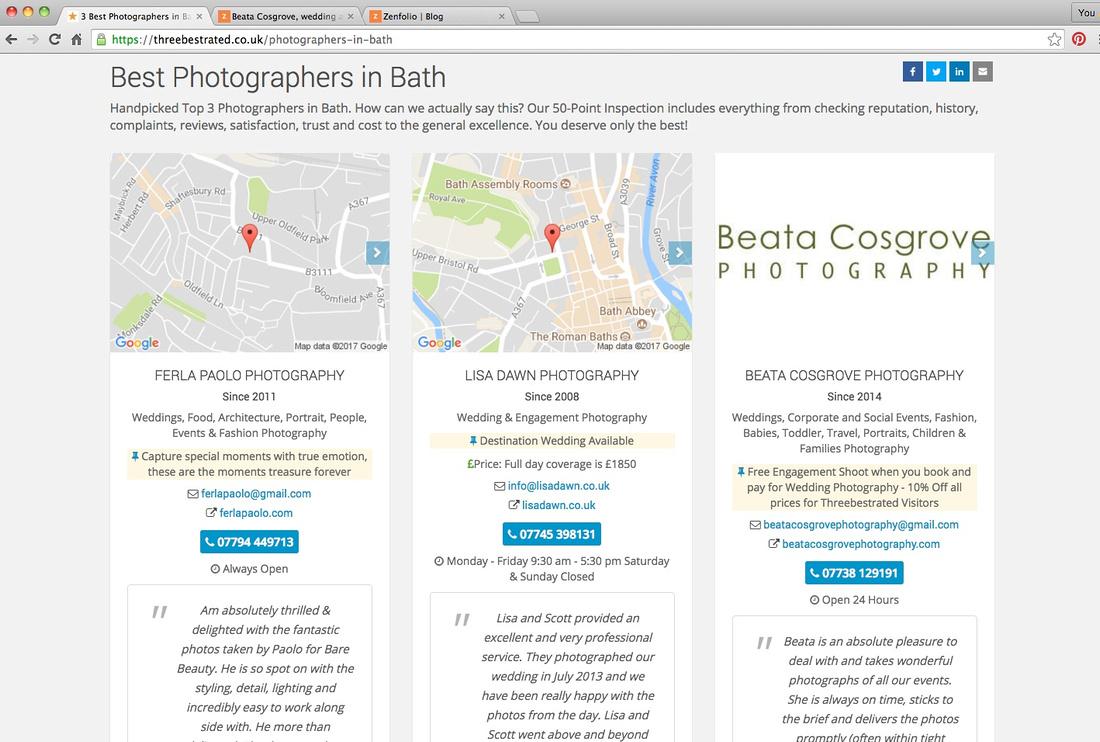 Screenshot from web descibing Beata Cosgrove as a best rated photographer in Bath