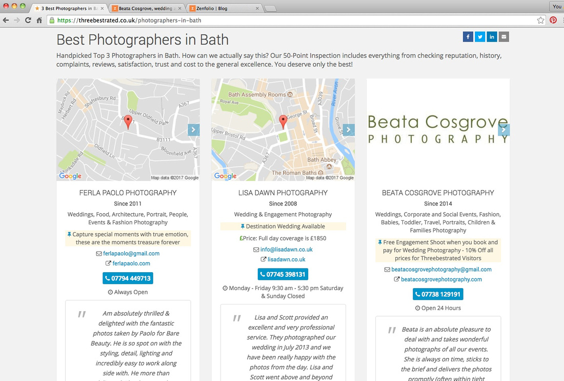 Screenshot from web descibing Beata Cosgrove as a best rated photographer in Bath
